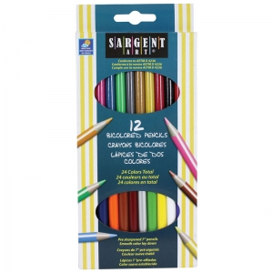 Sargent Art� BiColored Colored Pencils, 24 colors, 12 ct