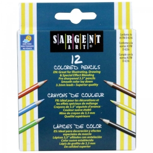 Sargent Art� Half Size Colored Pencils, 12 colors