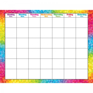 COLORFUL BRUSH STROKES MONTHLY WIPE  OFF CALENDAR