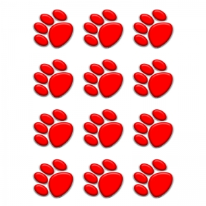 Red Paw Prints Mini Accents
