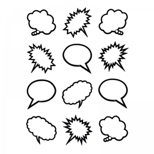 Superhero Black & White Speech/Thought Bubbles Mini Accents