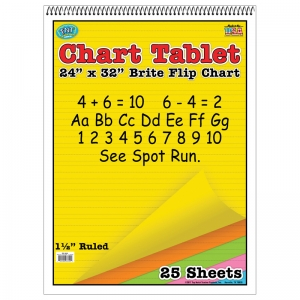 CHART TABLETS 24X32 ASSORTED 1 1/2  INCH RULED