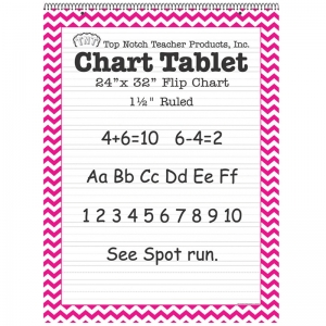 PINK CHEVRON BORDER CHART TABLET  24X32 1 1/2IN RULED