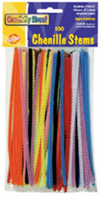 CHENILLE STEMS ASST 6IN STEMS 100PK