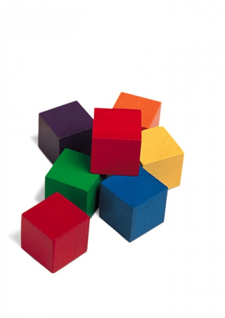 CUBES WOOD 1 IN 100 PK 6 COLORS
