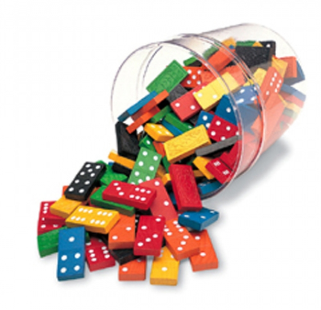 DOMINOES DOUBLE-SIX COLOR BUCKET 6  SETS 168 TOTAL