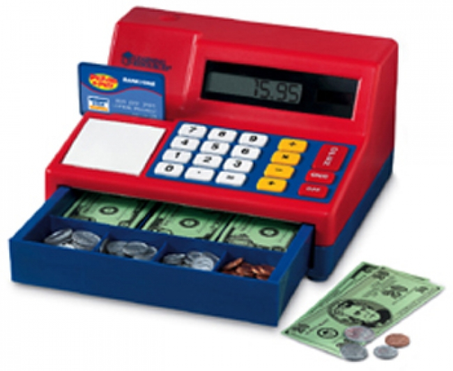 CALCULATOR CASH REGISTER W/ US  CURRENCY