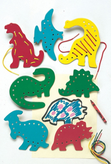 LACING & TRACING DINOSAURS 7/PK  AGES 3-7