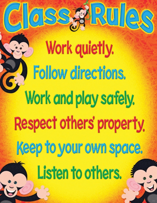 CLASS RULES MONKEY MISCHIEF  LEARNING CHART