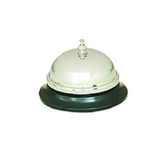C-CALL BELL BRUSHED NICW/BLA BASE 3-3/8IN DIA