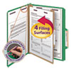 Four-Section Pressboard Top Tab Classification Folders w/ SafeSHIELD Fasteners, 1 Divider, Letter Size, Green, 10/Box