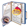 Four-Section Pressboard Top Tab Classification Folders w/ SafeSHIELD Fasteners, 1 Divider, Letter Size, Dark Blue, 10/Box