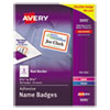 Flexible Adhesive Name Badge Labels, 2 1/3 x 3 3/8, White/Red Border, 400/BX