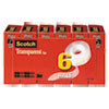 Scotch Transparent Tape, 1  Core, 0.75  X 83.33 Ft, Transparent, 6/Pack