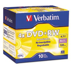 DVD+RW Discs, 4.7GB, 4x, w/Slim Jewel Cases, Pearl, 10/Pack