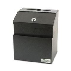 Steel Suggestion Box with Locking Top, 7 x 6 x 8 1/2, Black
