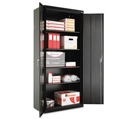 "Assembled 78"" High Storage Cabinet, w/Adjustable Shelves, 36w x 18d, Black"