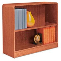Radius Corner Wood Veneer Bookcase, Two-Shelf, 35-5/8 x 11-3/4 x 30, Medium Oak