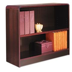 Radius Corner Wood Veneer Bookcase, Two-Shelf, 35-5/8w x 11-3/4d x 30h, Mahogany