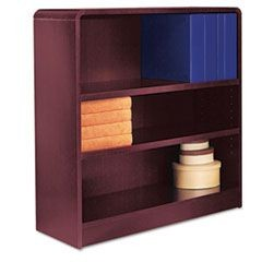 Radius Corner Wood Veneer Bookcase, Three-Shelf, 35-5/8 x 11-3/4 x 36, Mahogany