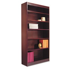 Square Corner Wood Veneer Bookcase, Six-Shelf, 35-5/8w x 11-3/4d x 72h, Mahogany