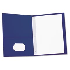 Two-Pocket Portfolios with Tang Fasteners, 11 x 8 1/2, Dark Blue, 25/Box