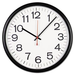 "Indoor/Outdoor Round Wall Clock, 13.5"" Overall Diameter, Black Case, 1 AA (sold separately)"