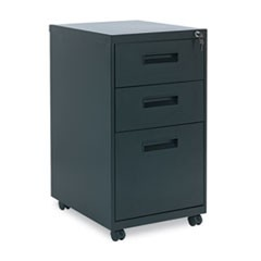 Three-Drawer Metal Pedestal File, 14.96w x 19.29d x 27.75h, Black