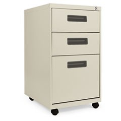 Three-Drawer Metal Pedestal File, 14 7/8w x 19-1/8d x 27-3/4h, Putty