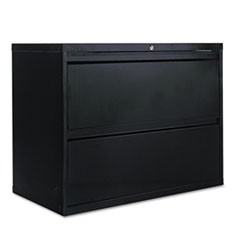 Two-Drawer Lateral File Cabinet, 36w x 18d x 28h, Black