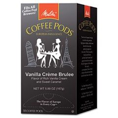 Coffee Pods, Vanilla Cr�me Brulee, 18 Pods/Box