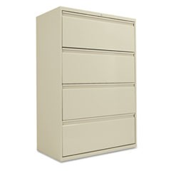 Four-Drawer Lateral File Cabinet, 36w x 19-1/4d x 53-1/4h, Putty