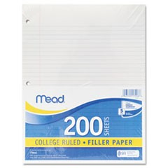 Filler Paper, 3-Hole, 8 1/2 x 11, Narrow Rule, 200/Pack