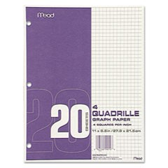 Graph Paper Tablet, 3-Hole, 8 1/2 x 11, Quadrille: 4 sq/in, 20/PK