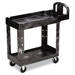 Heavy-Duty Utility Cart, Two-Shelf, 17-1/8w x 38-1/2d x 38-7/8h, Black