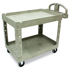 Heavy-Duty Utility Cart, Two-Shelf, 25 9/10w x 45 1/5d x 32 1/5h, Beige