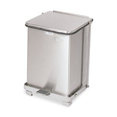 Defenders Biohazard Step Can, Square, Steel, 7 gal, Stainless Steel