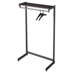 Single-Side Garment Rack w/Shelf, Powder Coated Textured Steel, 48w x 18.5d x 61.5h, Black