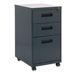 Three-Drawer Metal Pedestal File, 14.96w x 19.29d x 27.75h, Charcoal