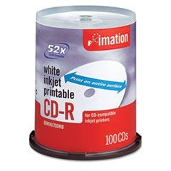 CD-R Discs, Printable, 700MB/80min, 52x, Spindle, Matte White, 100/Pack