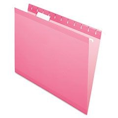 Reinforced Hanging Folders, 1/5 Tab, Letter, Pink, 25/Box