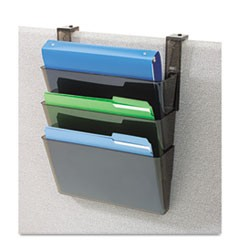 DocuPocket Three-Pocket File Set for Partition Walls, Letter, 13 x 7 x 4, Smoke