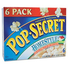 Microwave Popcorn, Homestyle, 3.2oz Bags, 6/Box