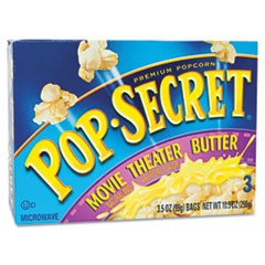 Microwave Popcorn, Movie Theater Butter, 3.2oz Bags, 3/Box