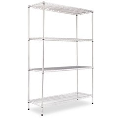 Industrial Heavy-Duty Wire Shelving Starter Kit, 4-Shelf, 48w x 18d x 72h,Silver