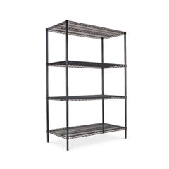 Industrial Heavy-Duty Wire Shelving Starter Kit, 4-Shelf, 48w x 24d x 72h, Black