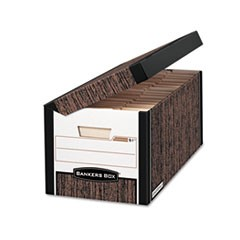 Bankers Box Systematic Medium-Duty Strength Storage Boxes, Letter/Legal Files, Woodgrain, 12/Carton