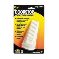 Big Foot Doorstop, No Slip Rubber Wedge, 2.25w x 4.75d x 1.25h, Beige