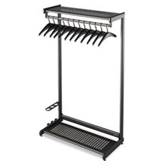Single-Sided Rack w/Two Shelves, 12 Hangers, Steel, 48