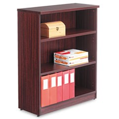 Alera Valencia Series Bookcase, Three-Shelf, 31 3/4w x 14d x 39 3/8h, Mahogany